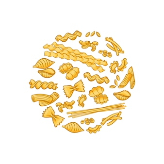 Cartoon pasta types circle flame badge and label concept