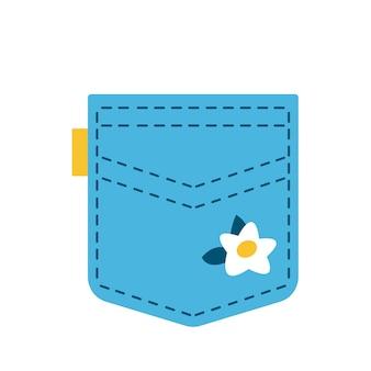 카모마일 꽃이 있는 만화 패치 포켓. 주머니는 재미있는 옷입니다. 만화 스타일입니다. 흰색 배경 위에 절연. 디자인 요소 재미