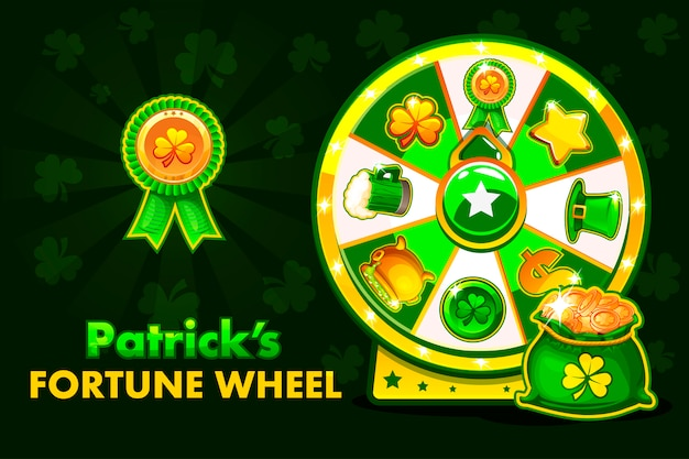 Cartoon patrick s lucky roulette, spinning fortune wheel. holiday icons and symbols