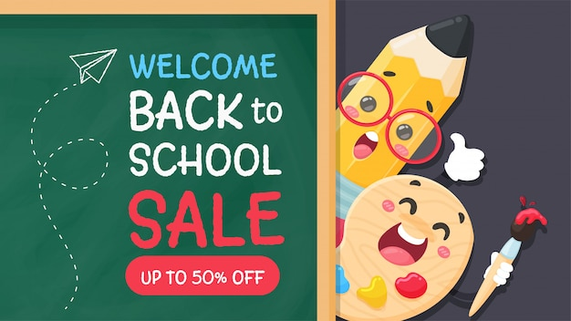 Cartoon pencil and pool write a welcome message back to school on the blackboard.