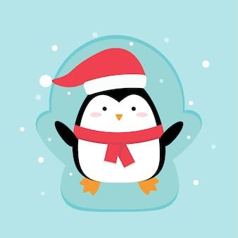 Cartoon penguin doing a snow angel