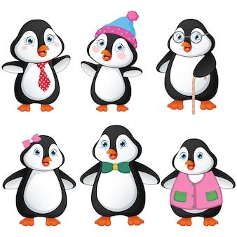 Семейство мультяшных пингвинов Premium векторы
