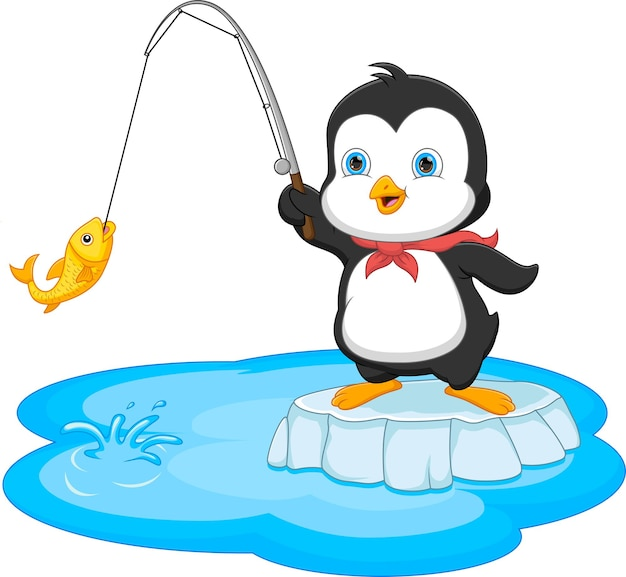 白い背景で隔離の漫画ペンギン釣り