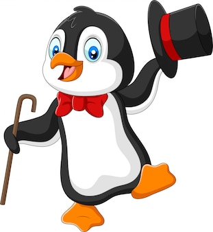 Cartoon penguin holding hat and cane