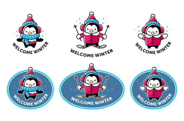 Cartoon penguin mascot in winter theme