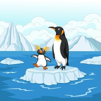 Cartoon penguin playing on ice floe