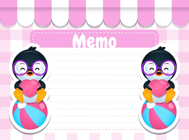 Cartoon penguin sitting on ball paper memo pads note template