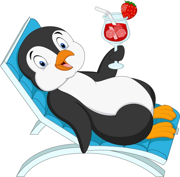 Cartoon penguin sitting on beach chair and holding cocktail