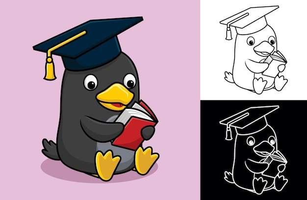 Cartoon of penguin wearing graduation hat while reading book