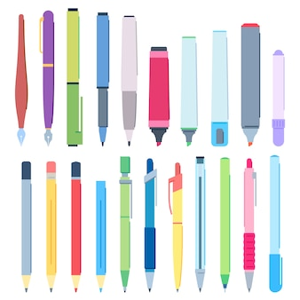 Cartoon pens and pencils. writing pen, drawing pencil and highlighter marker vector illustration set