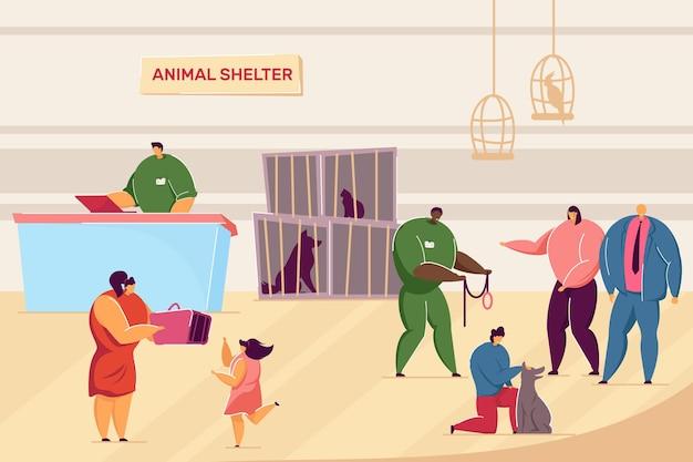 Мультяшные люди и домашние животные в приюте для животных. плоские векторные иллюстрации. волонтеры, заботящиеся о собаках и кошках, семьи, усыновившие бездомных животных в клетках. животное, домашнее животное, усыновление, концепция ухода