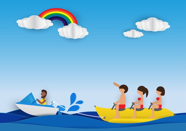 Cartoon people are riding on a banana boat