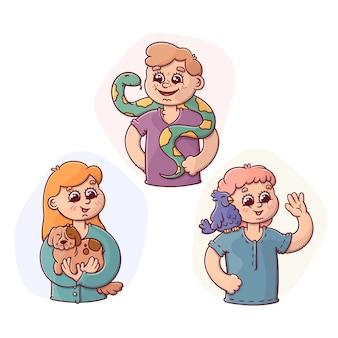 Cartoon people avatars holding their pets set
