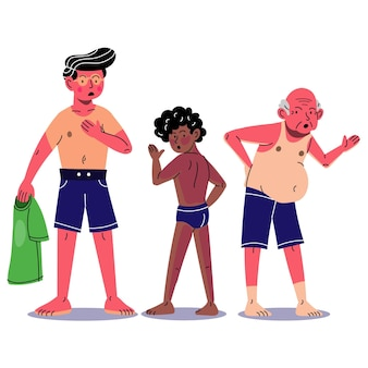 Cartoon people at the beach with a sunburn Free Vector