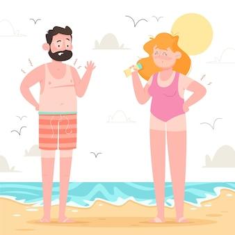 Cartoon people at the beach with a sunburn