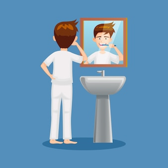Cartoon of people  brushing teeth illustration