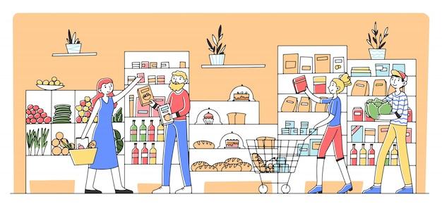 식료품 점에서 제품을 구매하는 만화 사람들
