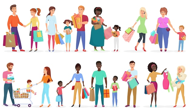 Мультяшные люди, несущие хозяйственные сумки с покупками. мужчины, женщины и дети персонажей. сезонная распродажа в магазине, магазине, торговом центре иллюстрации