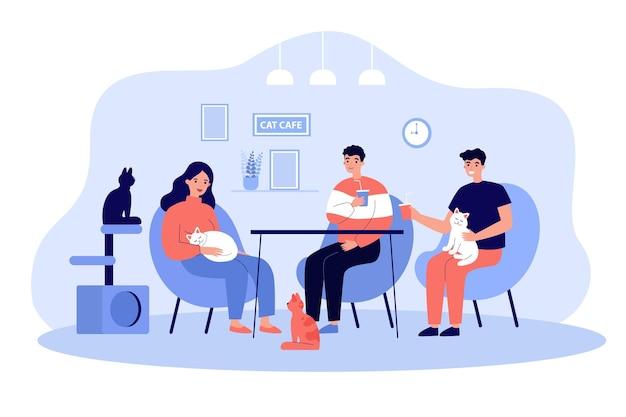 Cartoon people at cat cafe flat illustration