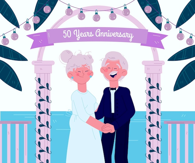 Cartoon people celebrating golden wedding anniversary