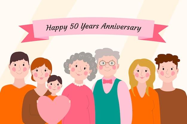 黄金の結婚記念日を祝う漫画の人々