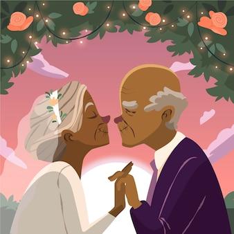 황금 결혼 기념일을 축하하는 만화 사람들