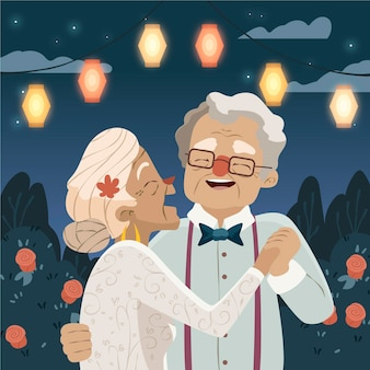 Cartoon people celebrating golden wedding anniversary