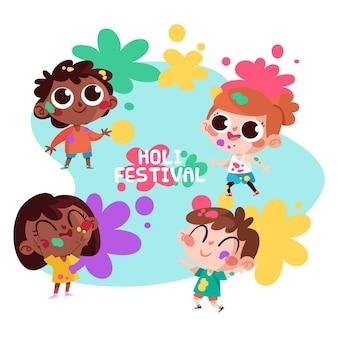 Cartoon people celebrating holi festival