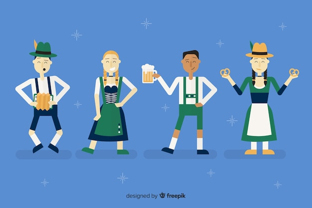 Cartoon people celebrating oktoberfest