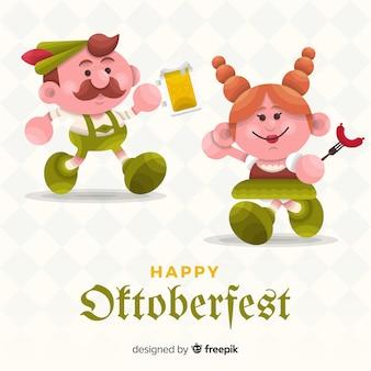 Cartoon people celebrating oktoberfest