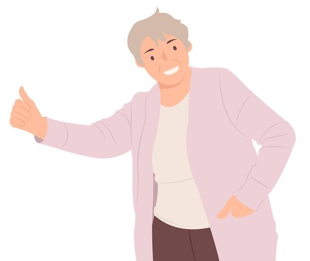 漫画の人々のキャラクターデザインの陽気な年配の女性が親指を立てています。印刷とウェブデザインの両方に最適です。