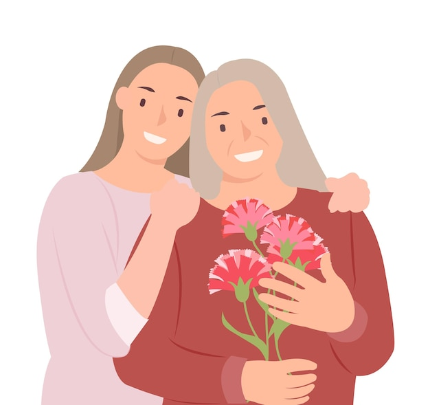 Cartoon people character design happy mothers day young daughter and mother with carnation flowers in hand. ideal for both print and web design.