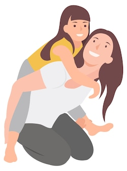 만화 사람들은 엄마와 아이가 재미를 느끼고 피기백을 주는 캐릭터를 디자인합니다. 인쇄 및 웹 디자인 모두에 이상적입니다.