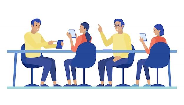 Cartoon people characters collaborating at meeting