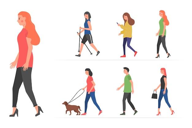만화 남자와 여자 평면 디자인의 도시 그룹에서 야외에서 걷는 만화 사람들 캐릭터