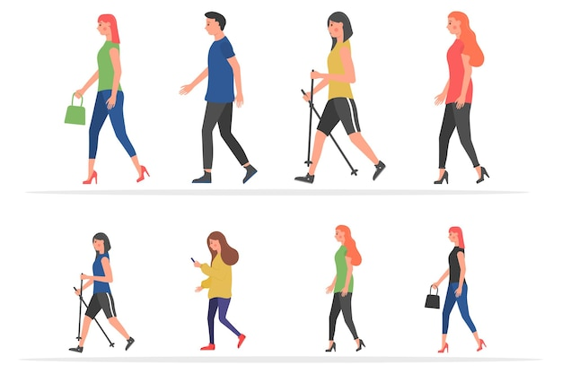 漫画の男性と女性のフラットデザインの都市グループで屋外を歩く漫画の人々のキャラクター