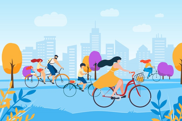 Cartoon people cycling in park
