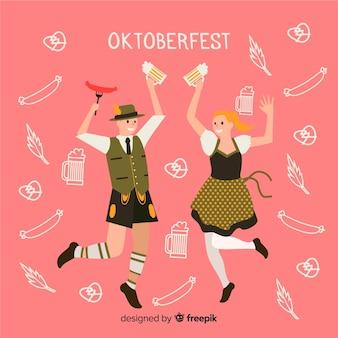 Мультяшные люди танцуют на октоберфесте