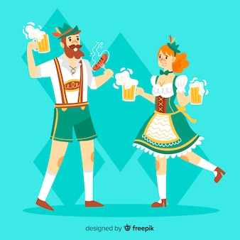 Cartoon people dancing at oktoberfest