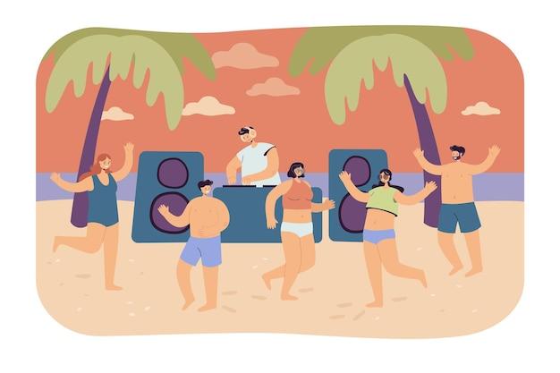 Gente del fumetto che balla sulla spiaggia estiva. illustrazione piatta