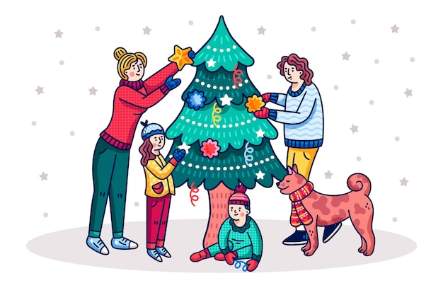 Cartoon people decorating tree