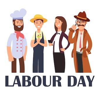 白の漫画の人々のさまざまな職業。労働者の日ポスター