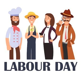 Cartoon people different proffesions  on white. labour day poster