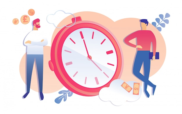 Cartoon people discuss deadline project finish