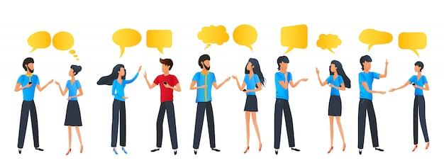 Cartoon people group chat communication dialogue speech bubbles