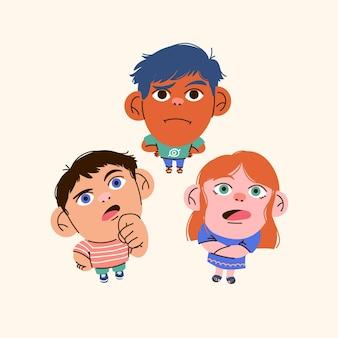 見上げる漫画の人々のグループ