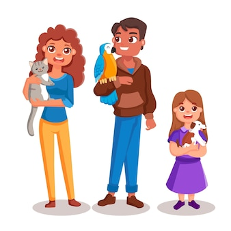 Cartoon people group with pets