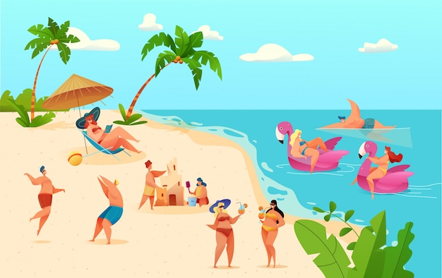 Cartoon people having fun at summer beach on vacation on seaside background. young man, woman at lounge, play volleyball, build sand castle, vector pink unicorn flamingo inflatable ring.