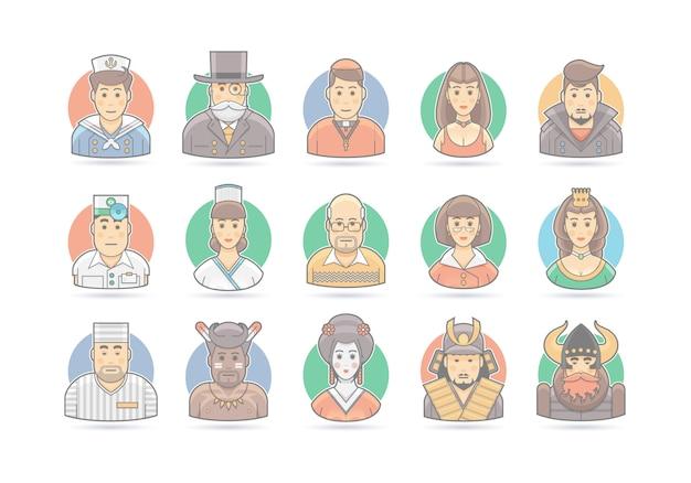 Набор иконок мультфильм люди. иллюстрация персонажа. на белом.