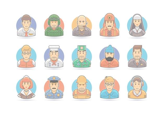 Cartoon people icon set.  character illustration.  on white.